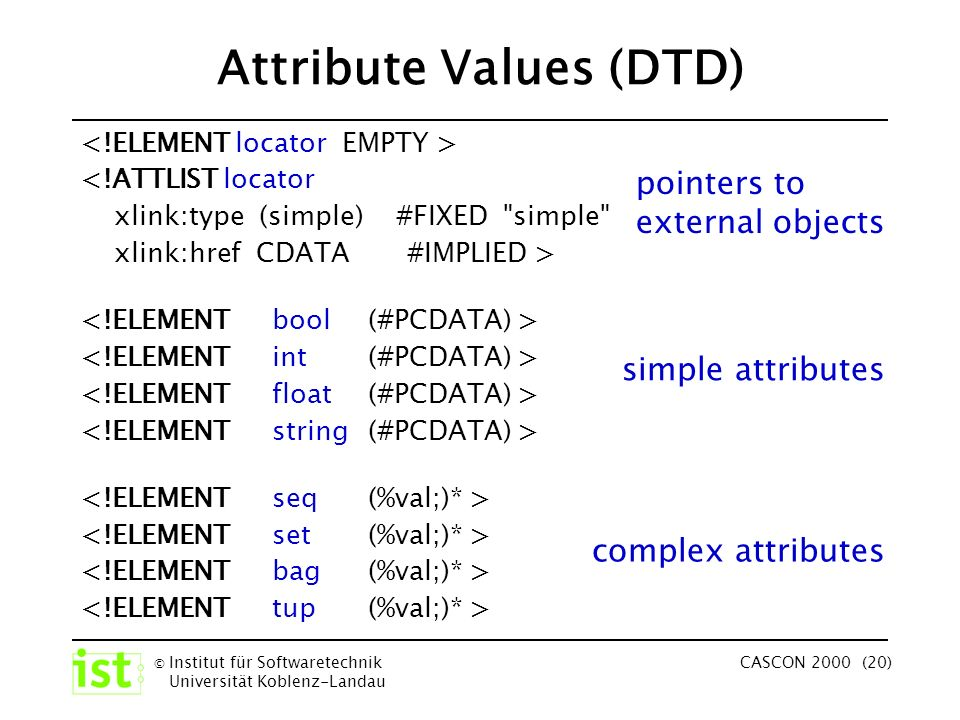 © Institut für Softwaretechnik Universität Koblenz-Landau CASCON 2000 (20) Attribute Values (DTD) <!ATTLIST locator xlink:type (simple) #FIXED simple xlink:href CDATA #IMPLIED > pointers to external objects simple attributes complex attributes