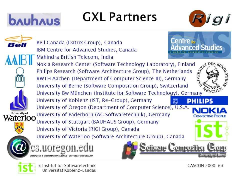 © Institut für Softwaretechnik Universität Koblenz-Landau CASCON 2000 (6) GXL Partners Bell Canada (Datrix Group), Canada IBM Centre for Advanced Studies, Canada Mahindra British Telecom, India Nokia Research Center (Software Technology Laboratory), Finland Philips Research (Software Architecture Group), The Netherlands RWTH Aachen (Department of Computer Science III), Germany University of Berne (Software Composition Group), Switzerland University Bw München (Institute for Software Technology), Germany University of Koblenz (IST, Re-Group), Germany University of Oregon (Department of Computer Science), U.S.A.