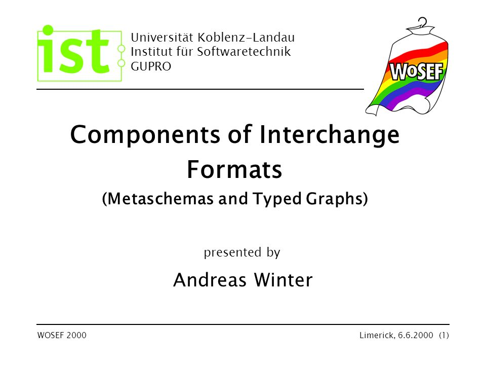 Universität Koblenz-Landau Institut für Softwaretechnik GUPRO WOSEF 2000Limerick, 6.6.2000 (1) Components of Interchange Formats (Metaschemas and Typed Graphs) Andreas Winter presented by