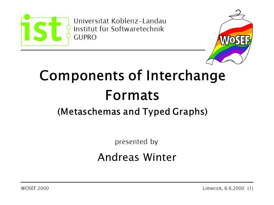 © Institut für Softwaretechnik Universität Koblenz-Landau Limerick, 6.6.2000 (22) TAXForm Utopia: –Transformation between schemata TAXForm - Transformation (1) lots of different schemas were defined for various purposes (e.g.