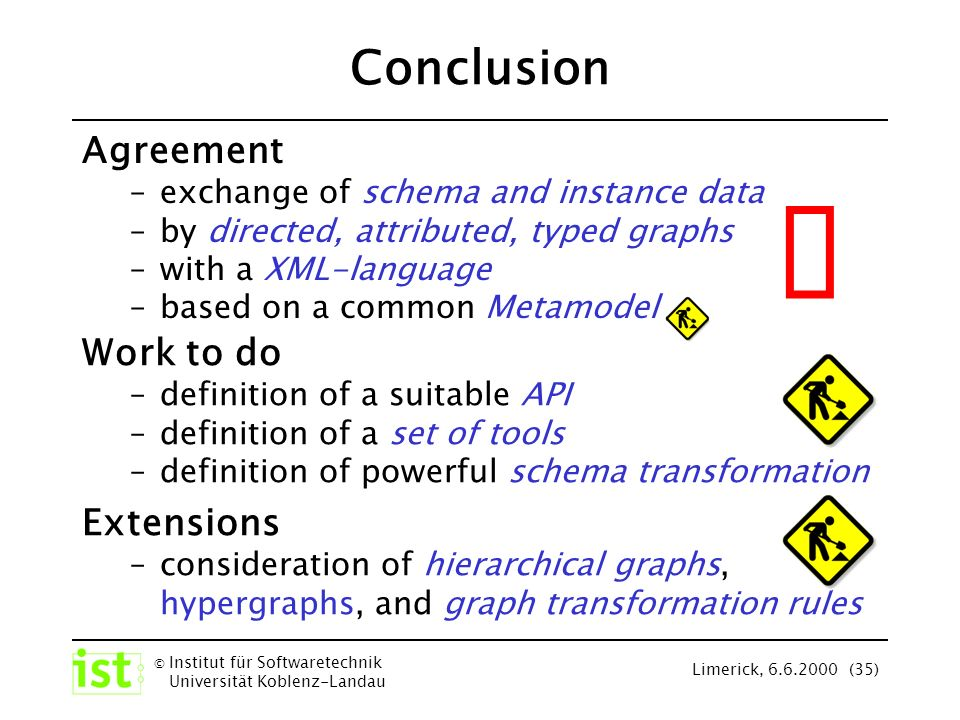 © Institut für Softwaretechnik Universität Koblenz-Landau Limerick, 6.6.2000 (35) Conclusion Agreement –exchange of schema and instance data –by directed, attributed, typed graphs –with a XML-language –based on a common Metamodel Extensions –consideration of hierarchical graphs, hypergraphs, and graph transformation rules Work to do –definition of a suitable API –definition of a set of tools –definition of powerful schema transformation