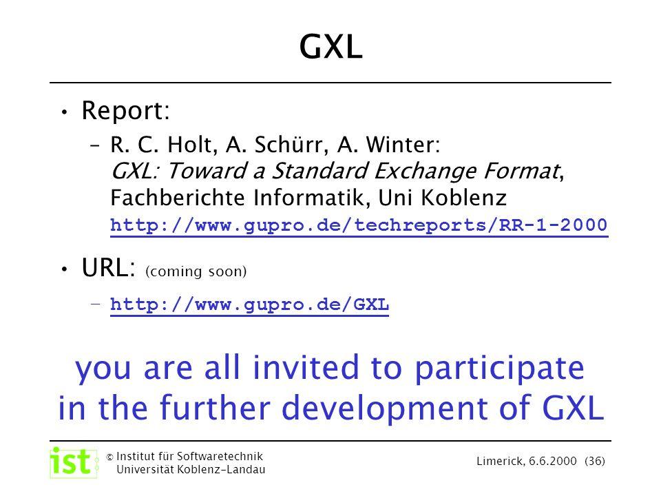 © Institut für Softwaretechnik Universität Koblenz-Landau Limerick, 6.6.2000 (36) GXL Report: –R. C. Holt, A. Schürr, A. Winter: GXL: Toward a Standar