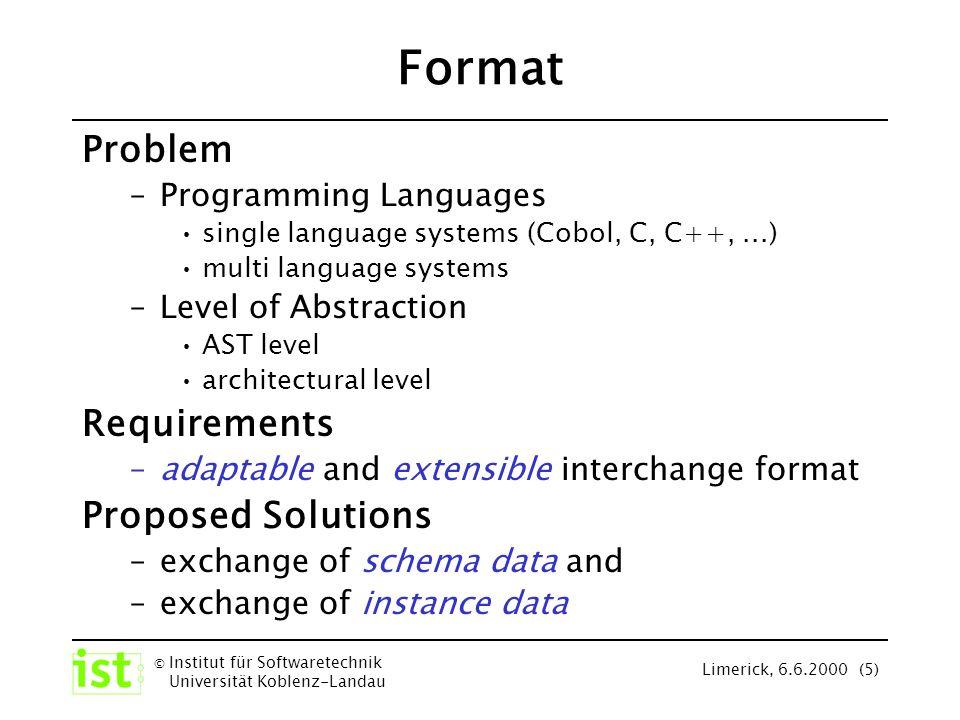 © Institut für Softwaretechnik Universität Koblenz-Landau Limerick, 6.6.2000 (26) GXL - Structure Software systems are represented by ordered, directed, attributed, typed graphs architectural Level