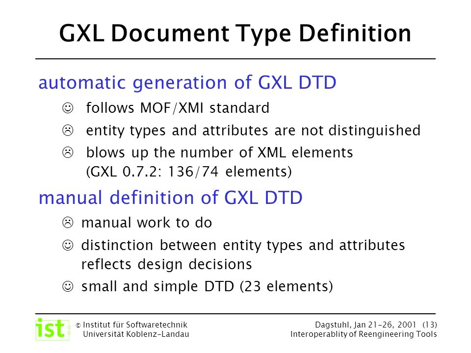 © Institut für Softwaretechnik Universität Koblenz-Landau Dagstuhl, Jan 21-26, 2001 (13) Interoperablity of Reengineering Tools GXL Document Type Definition automatic generation of GXL DTD follows MOF/XMI standard entity types and attributes are not distinguished blows up the number of XML elements (GXL 0.7.2: 136/74 elements) manual definition of GXL DTD manual work to do distinction between entity types and attributes reflects design decisions small and simple DTD (23 elements)