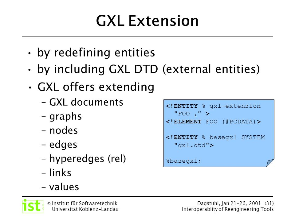 © Institut für Softwaretechnik Universität Koblenz-Landau Dagstuhl, Jan 21-26, 2001 (31) Interoperablity of Reengineering Tools GXL Extension by redefining entities by including GXL DTD (external entities) <!ENTITY % gxl-extension FOO, > <!ENTITY % basegxl SYSTEM gxl.dtd > %basegxl; GXL offers extending – GXL documents – graphs – nodes – edges – hyperedges (rel) – links – values