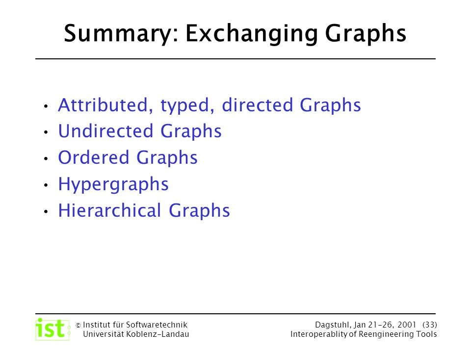 © Institut für Softwaretechnik Universität Koblenz-Landau Dagstuhl, Jan 21-26, 2001 (33) Interoperablity of Reengineering Tools Summary: Exchanging Graphs Attributed, typed, directed Graphs Undirected Graphs Ordered Graphs Hypergraphs Hierarchical Graphs