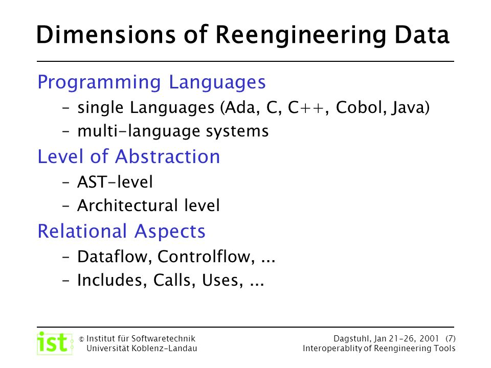 © Institut für Softwaretechnik Universität Koblenz-Landau Dagstuhl, Jan 21-26, 2001 (7) Interoperablity of Reengineering Tools Dimensions of Reengineering Data Programming Languages –single Languages (Ada, C, C++, Cobol, Java) –multi-language systems Level of Abstraction –AST-level –Architectural level Relational Aspects –Dataflow, Controlflow,...