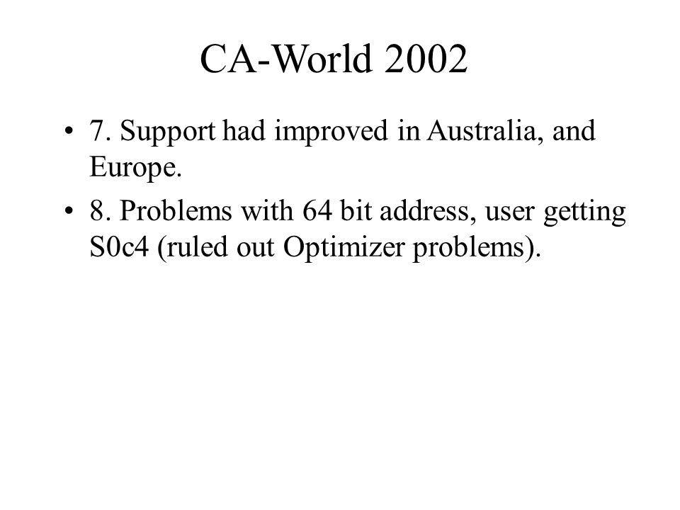 CA-World Support had improved in Australia, and Europe.