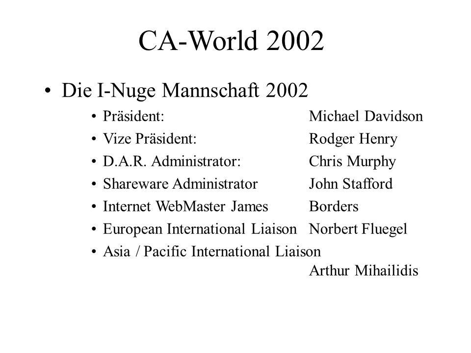 CA-World 2002 Die I-Nuge Mannschaft 2002 Präsident: Michael Davidson Vize Präsident: Rodger Henry D.A.R.