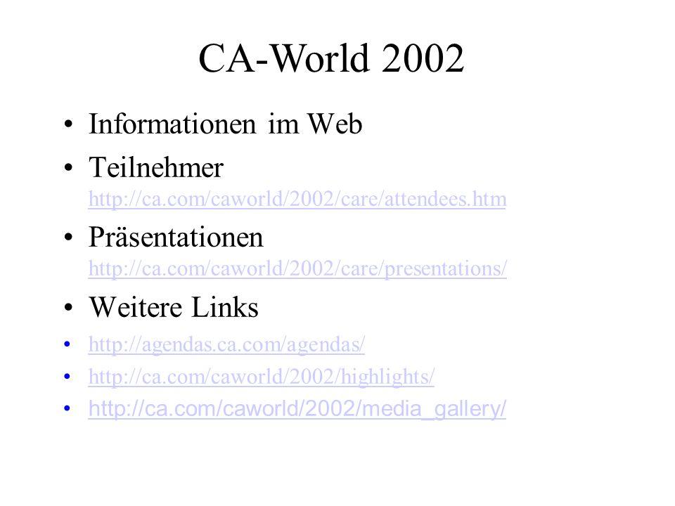 CA-World 2002 Informationen im Web Teilnehmer http://ca.com/caworld/2002/care/attendees.htm http://ca.com/caworld/2002/care/attendees.htm Präsentationen http://ca.com/caworld/2002/care/presentations/ http://ca.com/caworld/2002/care/presentations/ Weitere Links http://agendas.ca.com/agendas/ http://ca.com/caworld/2002/highlights/ http://ca.com/caworld/2002/media_gallery/