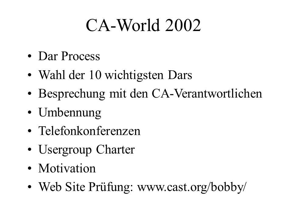 CA-World 2002 Dar Process Wahl der 10 wichtigsten Dars Besprechung mit den CA-Verantwortlichen Umbennung Telefonkonferenzen Usergroup Charter Motivation Web Site Prüfung: www.cast.org/bobby/