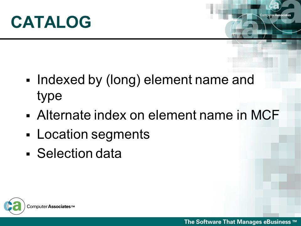 CATALOG Indexed by (long) element name and type Alternate index on element name in MCF Location segments Selection data