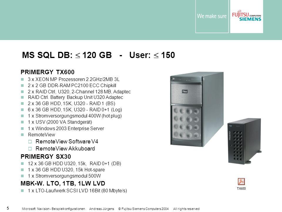 Microsoft Navision - Beispielkonfigurationen Andreas Jürgens © Fujitsu Siemens Computers 2004 All rights reserved 5 MS SQL DB: 120 GB - User: 150 PRIMERGY TX600 3 x XEON MP Prozessoren 2.2GHz/2MB 3L 2 x 2 GB DDR-RAM PC2100 ECC Chipkill 2 x RAID Ctrl, U320, 2-Channel 128 MB, Adaptec RAID Ctrl.