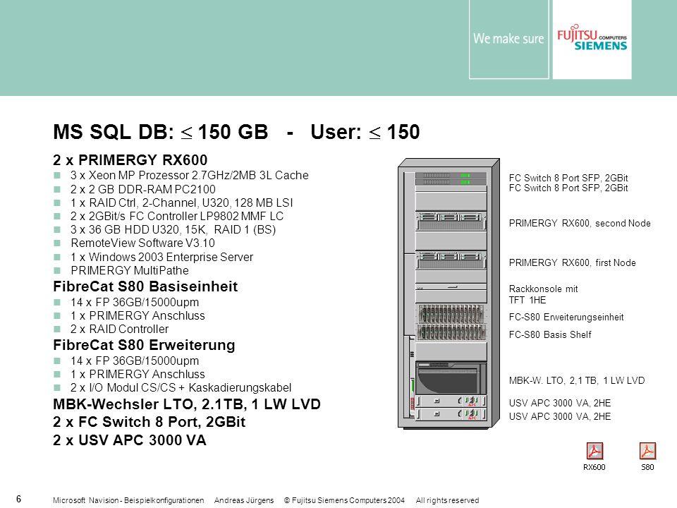 Microsoft Navision - Beispielkonfigurationen Andreas Jürgens © Fujitsu Siemens Computers 2004 All rights reserved 6 MS SQL DB: 150 GB - User: 150 2 x PRIMERGY RX600 3 x Xeon MP Prozessor 2.7GHz/2MB 3L Cache 2 x 2 GB DDR-RAM PC2100 1 x RAID Ctrl, 2-Channel, U320, 128 MB LSI 2 x 2GBit/s FC Controller LP9802 MMF LC 3 x 36 GB HDD U320, 15K, RAID 1 (BS) RemoteView Software V3.10 1 x Windows 2003 Enterprise Server PRIMERGY MultiPathe FibreCat S80 Basiseinheit 14 x FP 36GB/15000upm 1 x PRIMERGY Anschluss 2 x RAID Controller FibreCat S80 Erweiterung 14 x FP 36GB/15000upm 1 x PRIMERGY Anschluss 2 x I/O Modul CS/CS + Kaskadierungskabel MBK-Wechsler LTO, 2.1TB, 1 LW LVD 2 x FC Switch 8 Port, 2GBit 2 x USV APC 3000 VA FC-S80 Basis Shelf FC-S80 Erweiterungseinheit FC Switch 8 Port SFP, 2GBit USV APC 3000 VA, 2HE PRIMERGY RX600, second Node PRIMERGY RX600, first Node MBK-W.
