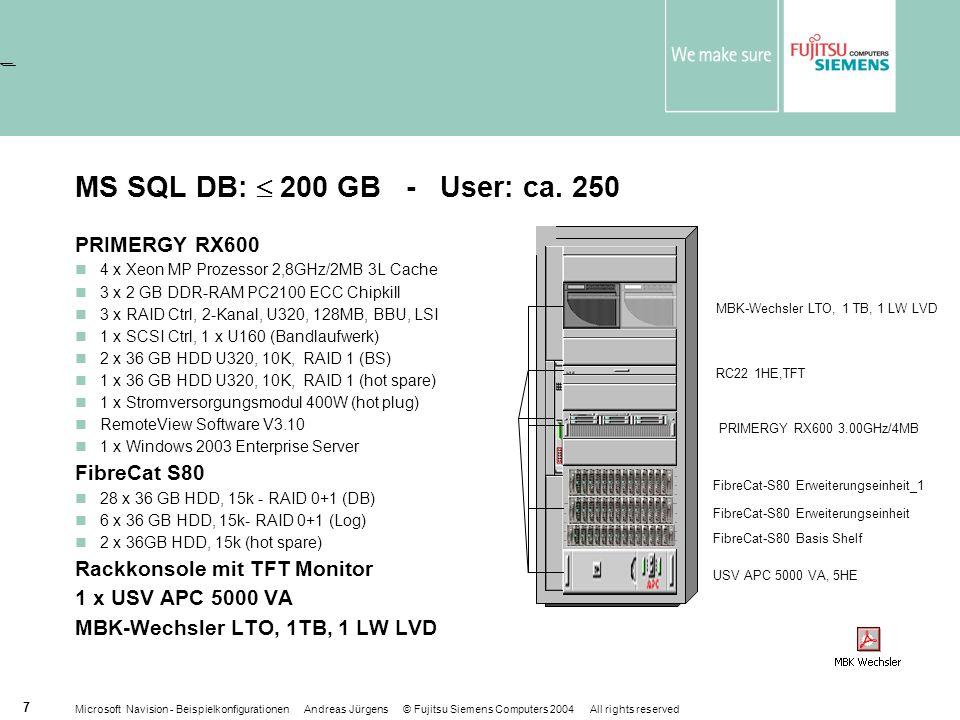 Microsoft Navision - Beispielkonfigurationen Andreas Jürgens © Fujitsu Siemens Computers 2004 All rights reserved 7 MS SQL DB: 200 GB - User: ca.