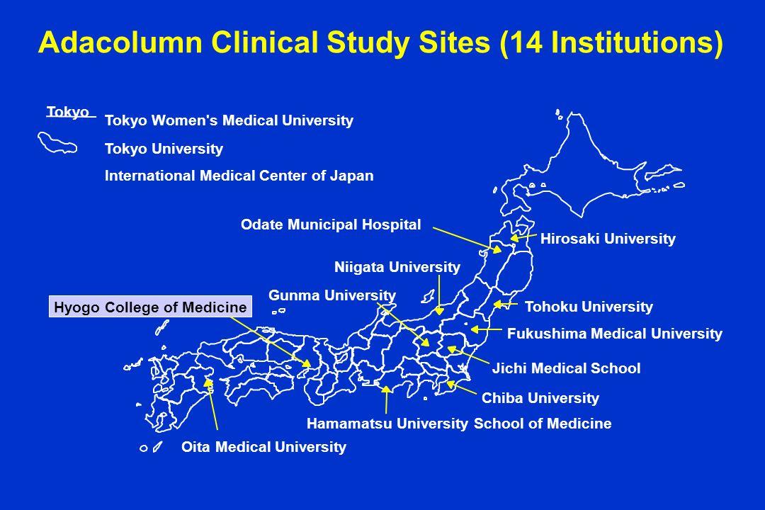 Adacolumn Clinical Study Sites (14 Institutions) Fukushima Medical University Odate Municipal Hospital Tohoku University Hamamatsu University School o