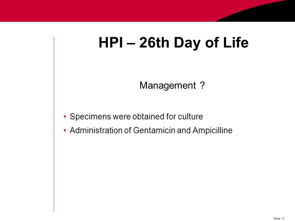 Seite 13 HPI – 26th Day of Life Management .