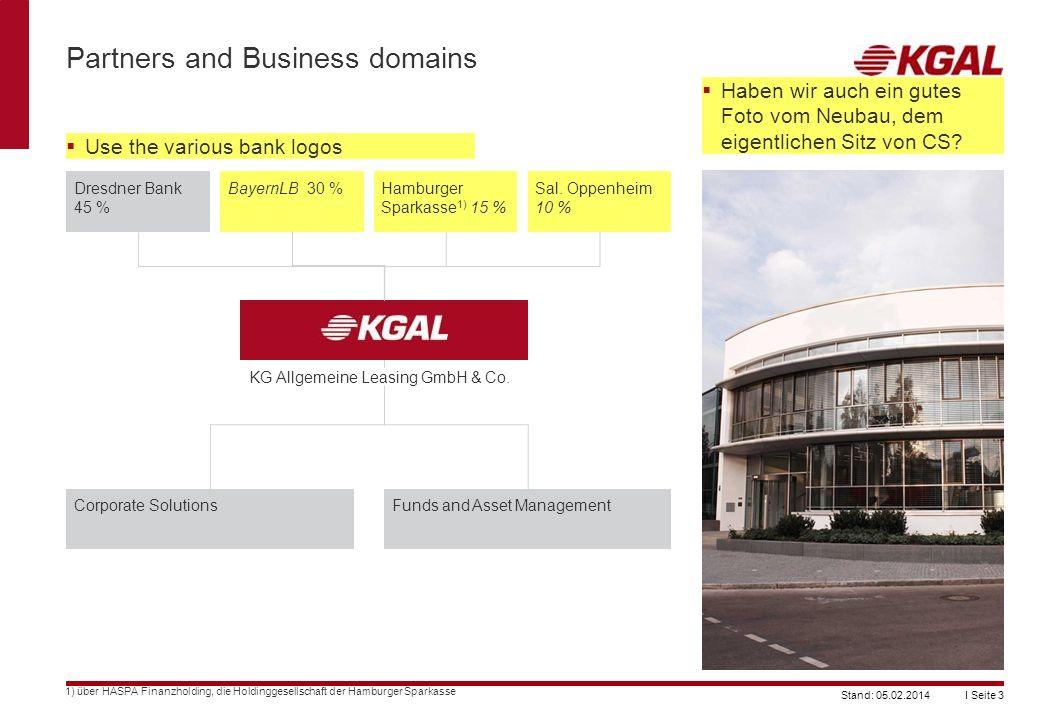 I Seite 3Stand: 05.02.2014 Partners and Business domains 1) über HASPA Finanzholding, die Holdinggesellschaft der Hamburger Sparkasse Dresdner Bank 45