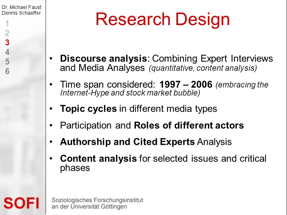 Discourse analysis: Combining Expert Interviews and Media Analyses (quantitative, content analysis) Time span considered: 1997 – 2006 (embracing the I