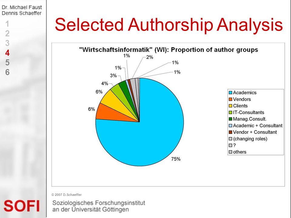 Selected Authorship Analysis © 2007 D.Schaeffer 123456123456