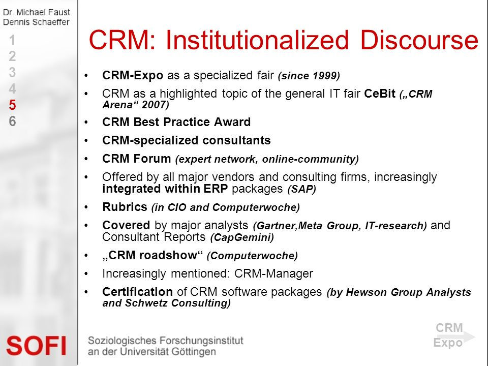 CRM-Expo as a specialized fair (since 1999) CRM as a highlighted topic of the general IT fair CeBit (CRM Arena 2007) CRM Best Practice Award CRM-speci