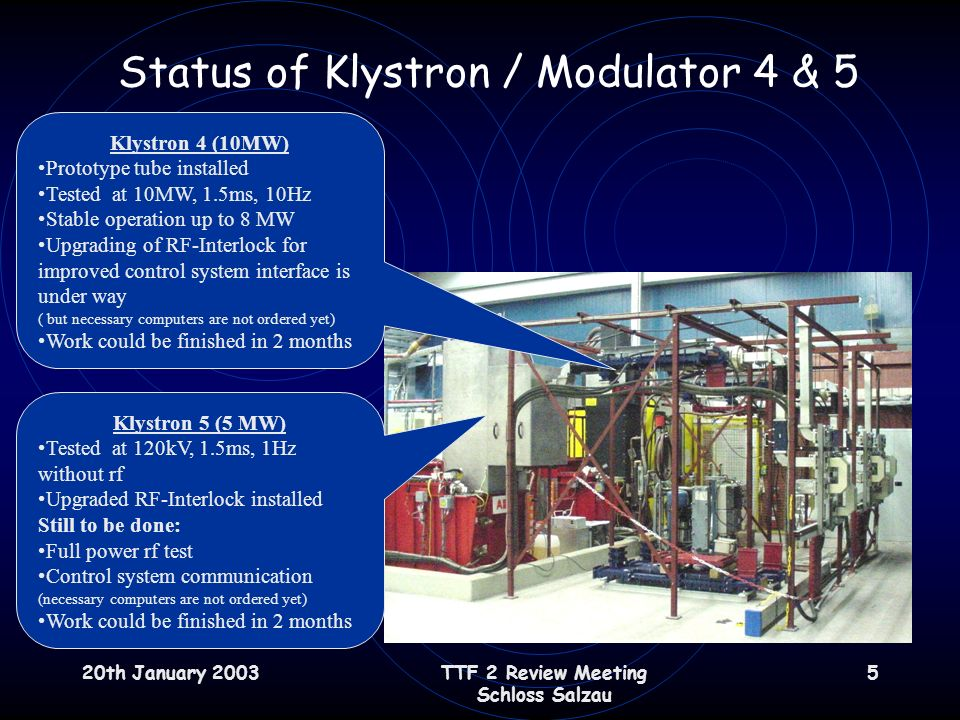 20th January 2003TTF 2 Review Meeting Schloss Salzau 5 Status of Klystron / Modulator 4 & 5 Klystron 4 (10MW) Prototype tube installed Tested at 10MW, 1.5ms, 10Hz Stable operation up to 8 MW Upgrading of RF-Interlock for improved control system interface is under way ( but necessary computers are not ordered yet) Work could be finished in 2 months Klystron 5 (5 MW) Tested at 120kV, 1.5ms, 1Hz without rf Upgraded RF-Interlock installed Still to be done: Full power rf test Control system communication (necessary computers are not ordered yet) Work could be finished in 2 months