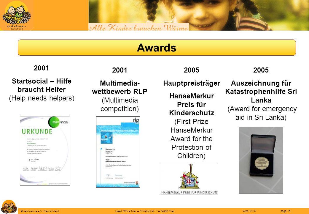 Head Office Trier – Christophstr. 1 – 54290 Trier page 15 © nestwärme e.V. Deutschland Vers. 01/07 Awards 2001 Startsocial – Hilfe braucht Helfer (Hel