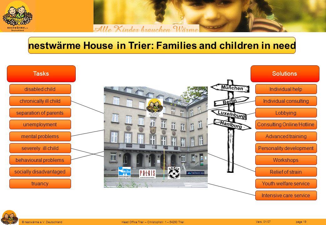 Head Office Trier – Christophstr. 1 – 54290 Trier page 19 © nestwärme e.V. Deutschland Vers. 01/07 nestwärme House in Trier: Families and children in