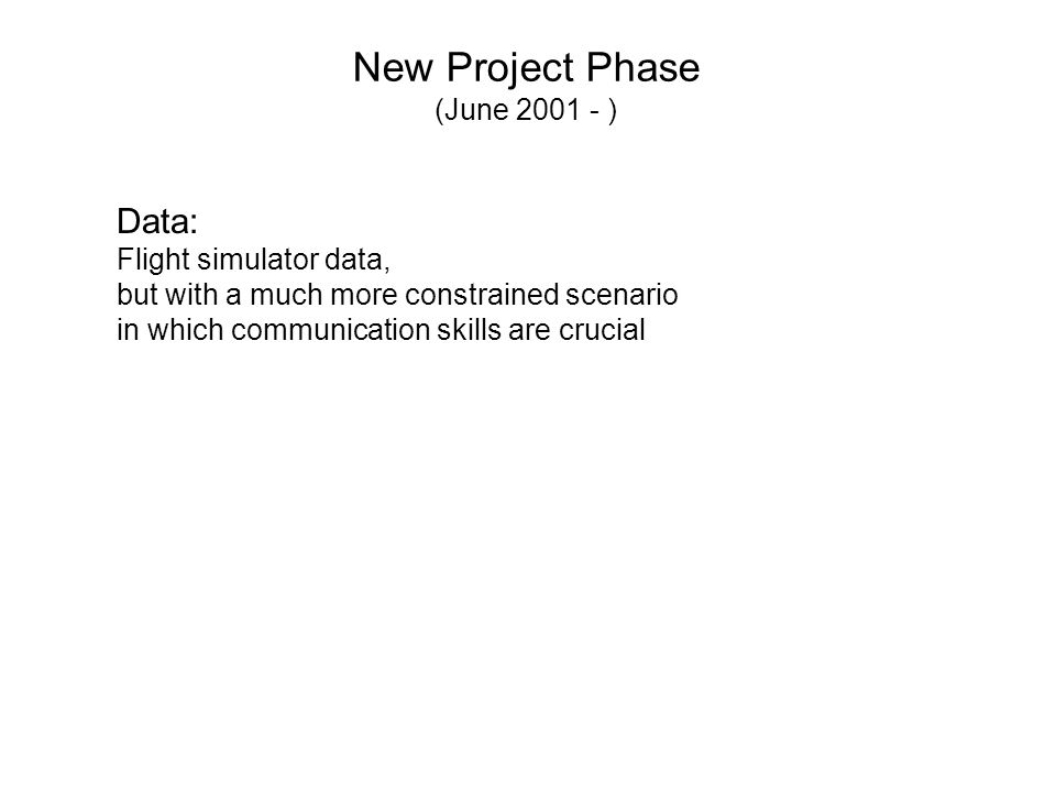 New Project Phase (June 2001 - ) Data: Flight simulator data, but with a much more constrained scenario in which communication skills are crucial
