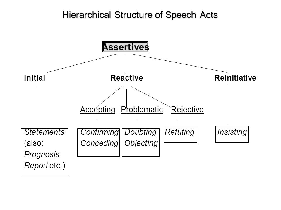 Hierarchical Structure of Speech Acts Initial Reactive Reinitiative Accepting Problematic Rejective StatementsConfirming DoubtingRefuting Insisting (a
