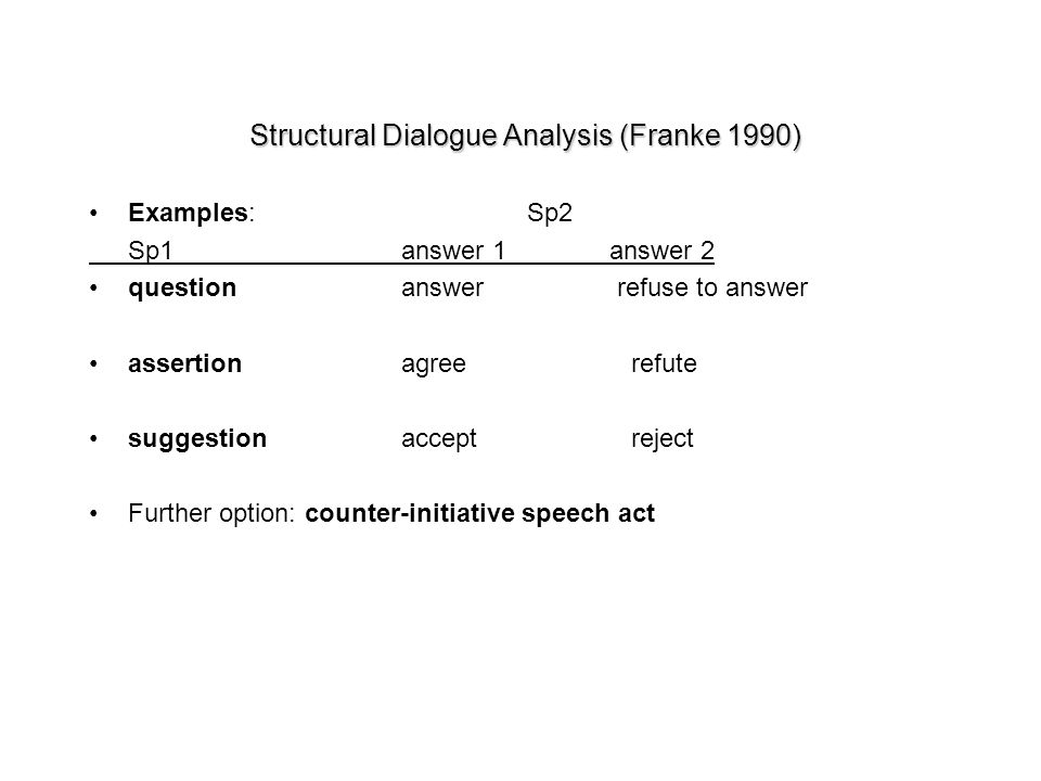 Structural Dialogue Analysis (Franke 1990) Examples: Sp2 Sp1answer 1answer 2 questionanswer refuse to answer assertionagree refute suggestionaccept re