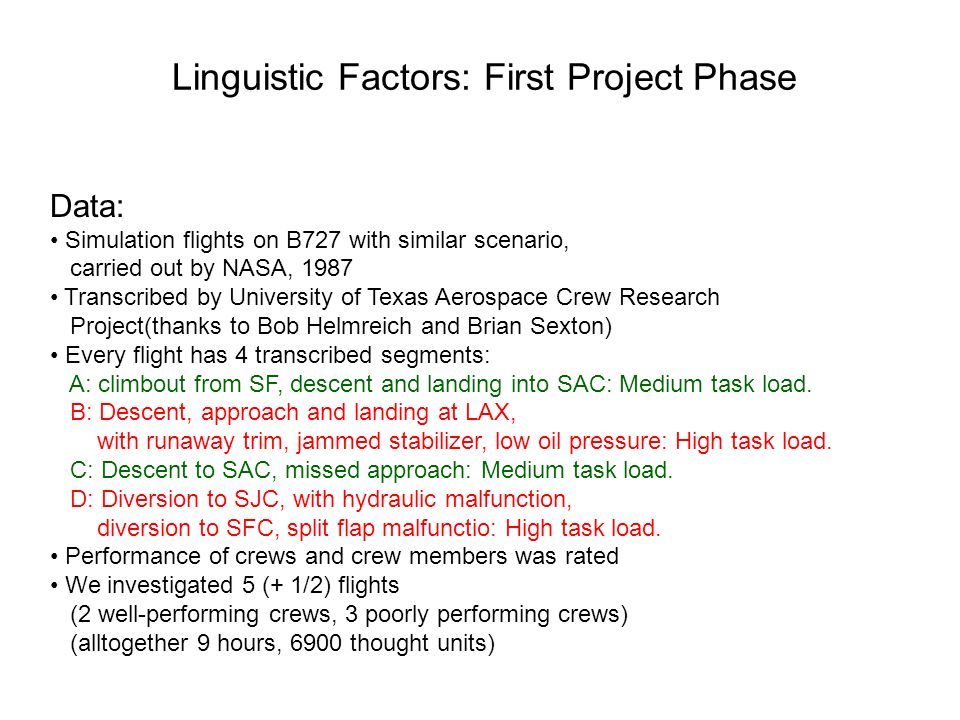 Linguistic Factors: First Project Phase Data: Simulation flights on B727 with similar scenario, carried out by NASA, 1987 Transcribed by University of Texas Aerospace Crew Research Project(thanks to Bob Helmreich and Brian Sexton) Every flight has 4 transcribed segments: A: climbout from SF, descent and landing into SAC: Medium task load.