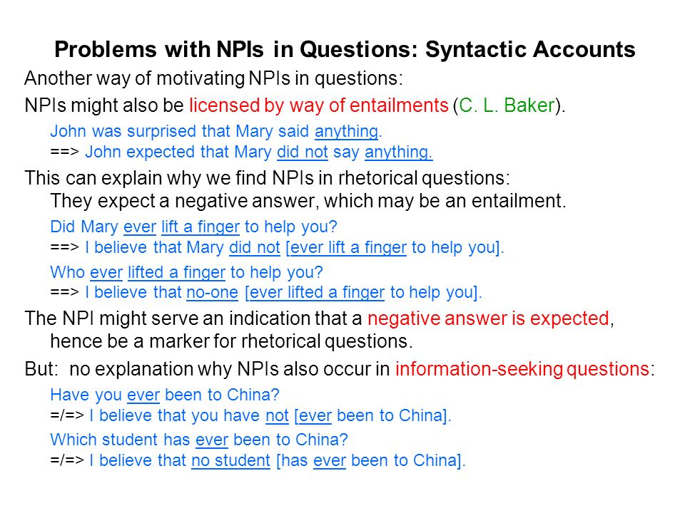 Problems with NPIs in Questions: Syntactic Accounts Another way of motivating NPIs in questions: NPIs might also be licensed by way of entailments (C.