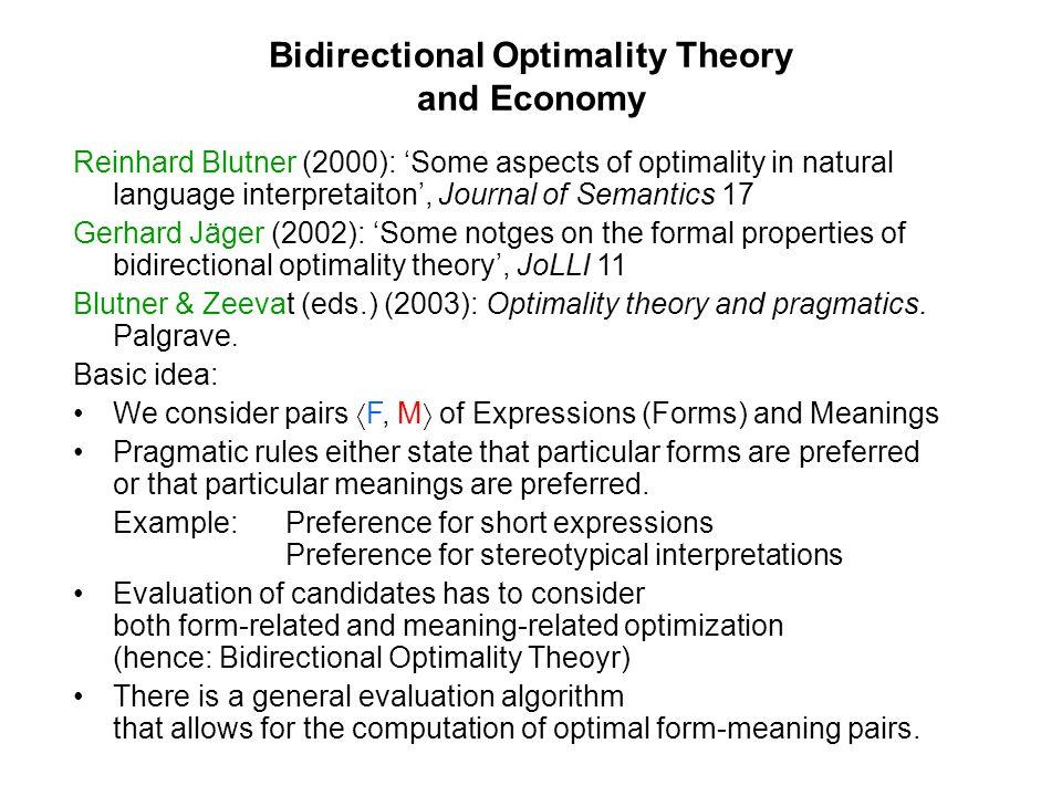 Bidirectional Optimality Theory and Economy Reinhard Blutner (2000): Some aspects of optimality in natural language interpretaiton, Journal of Semanti