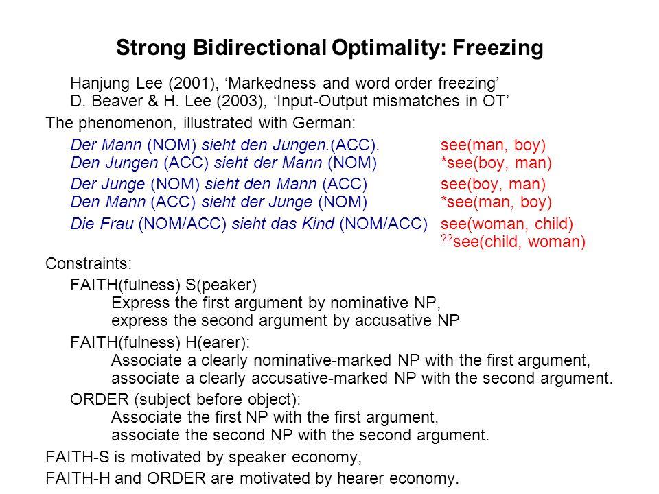 Strong Bidirectional Optimality: Freezing Hanjung Lee (2001), Markedness and word order freezing D.