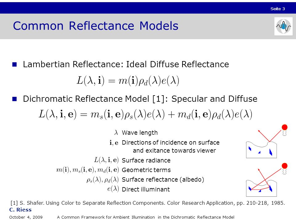 Seite 3 C. Riess October 4, 2009A Common Framework for Ambient Illumination in the Dichromatic Reflectance Model Seite 3 Lambertian Reflectance: Ideal