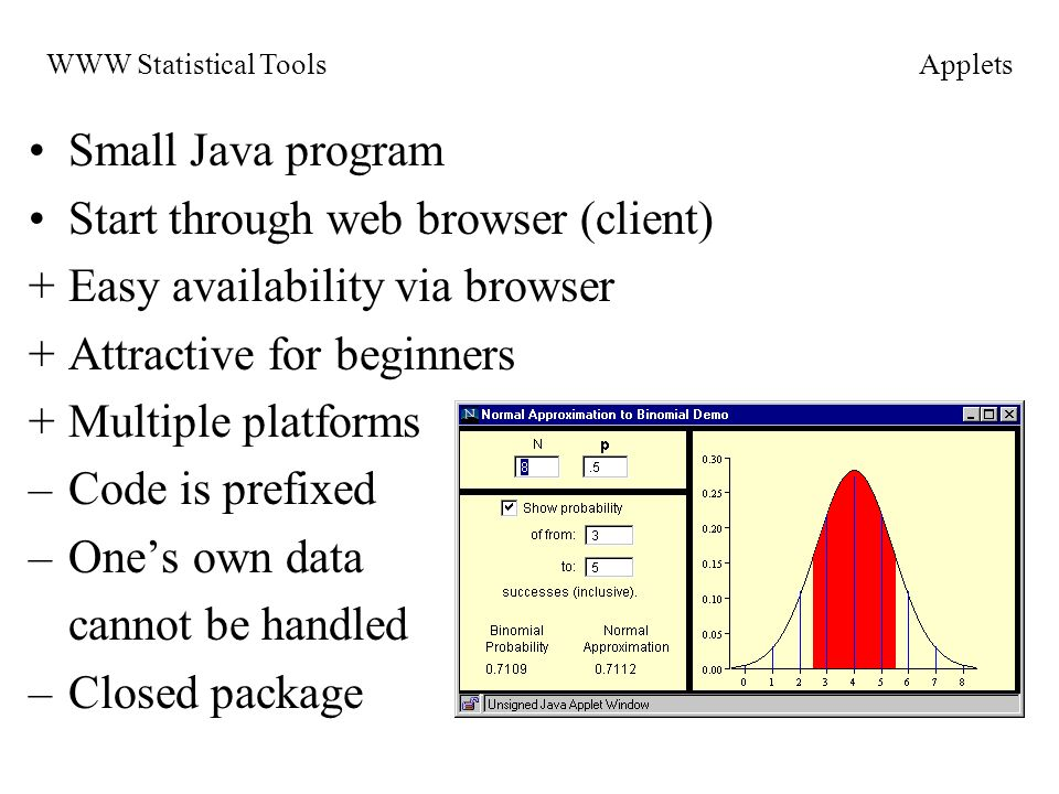 Small Java program Start through web browser (client) +Easy availability via browser +Attractive for beginners +Multiple platforms –Code is prefixed –Ones own data cannot be handled –Closed package WWW Statistical ToolsApplets