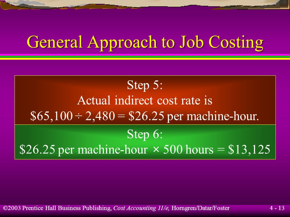 ©2003 Prentice Hall Business Publishing, Cost Accounting 11/e, Horngren/Datar/Foster 4 - 12 General Approach to Job Costing Step 3: The cost allocatio