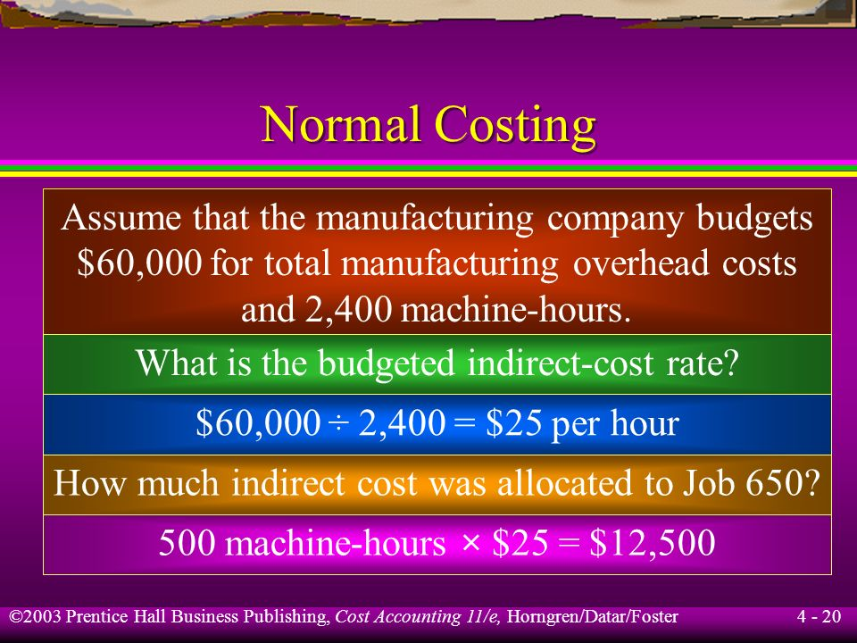 ©2003 Prentice Hall Business Publishing, Cost Accounting 11/e, Horngren/Datar/Foster 4 - 19 Costing Systems Normal costing is a method that allocates
