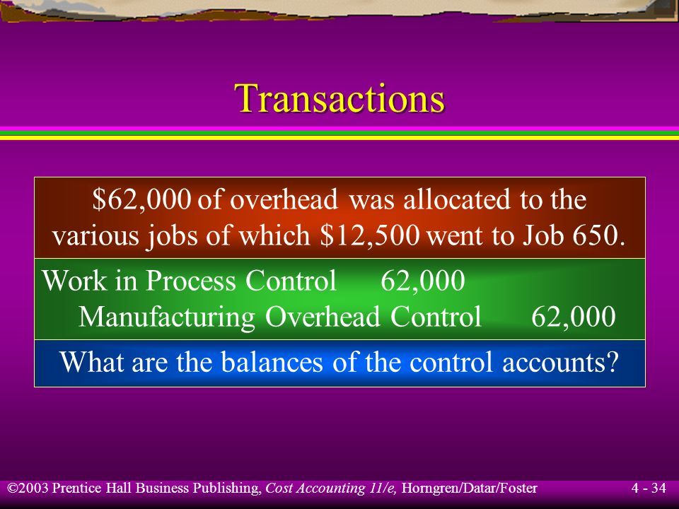 ©2003 Prentice Hall Business Publishing, Cost Accounting 11/e, Horngren/Datar/Foster 4 - 33 Transactions Manufacturing Overhead Control 45,100 Accumul