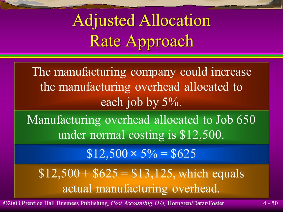 ©2003 Prentice Hall Business Publishing, Cost Accounting 11/e, Horngren/Datar/Foster 4 - 49 Adjusted Allocation Rate Approach Actual manufacturing ove