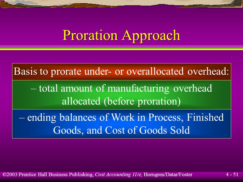 ©2003 Prentice Hall Business Publishing, Cost Accounting 11/e, Horngren/Datar/Foster 4 - 50 Adjusted Allocation Rate Approach The manufacturing compan