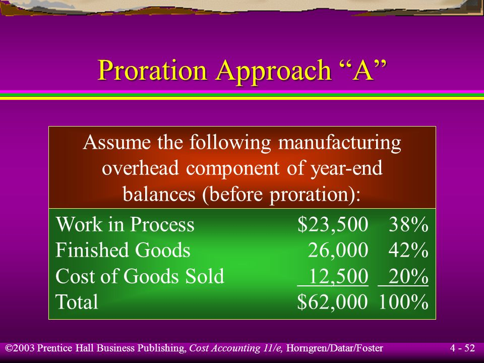 ©2003 Prentice Hall Business Publishing, Cost Accounting 11/e, Horngren/Datar/Foster 4 - 51 Proration Approach Basis to prorate under- or overallocate