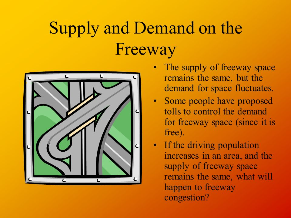 Supply and Demand on the Freeway The supply of freeway space remains the same, but the demand for space fluctuates.