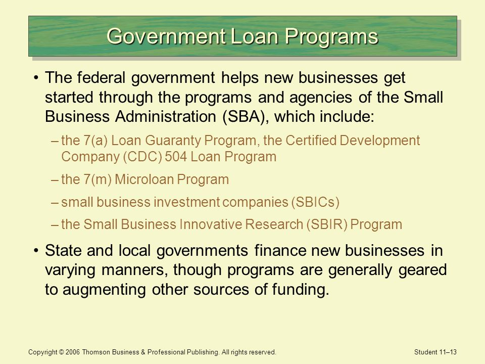Copyright © 2006 Thomson Business & Professional Publishing. All rights reserved. Student 11–13 Government Loan Programs The federal government helps