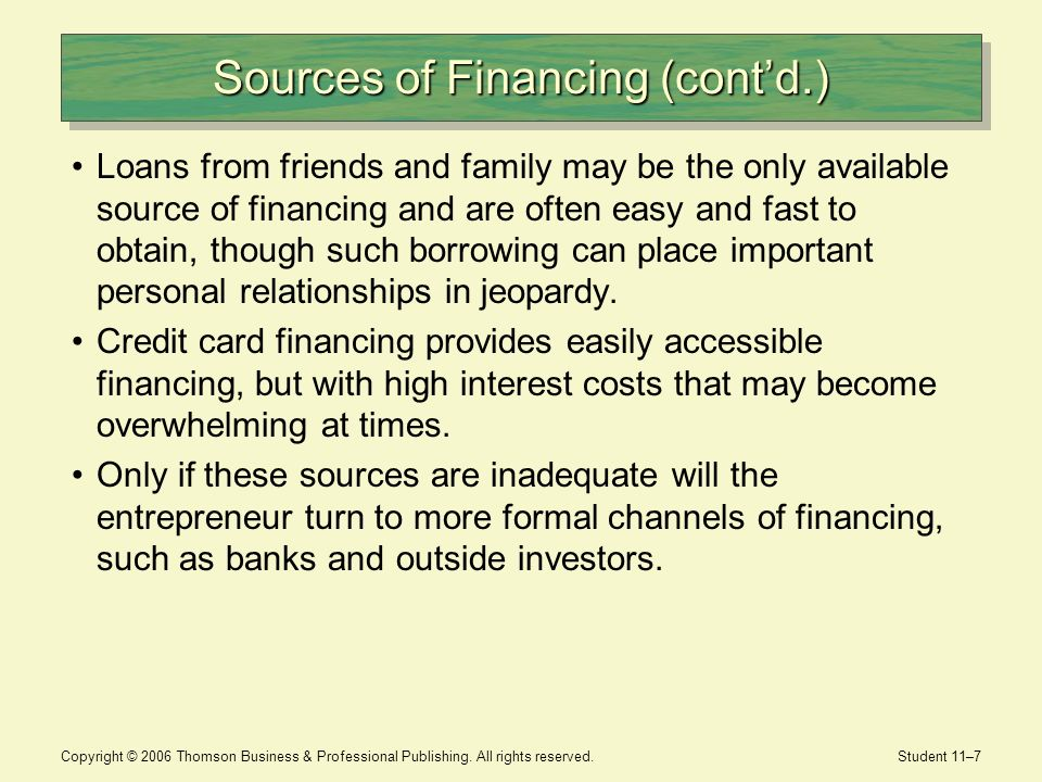 Copyright © 2006 Thomson Business & Professional Publishing. All rights reserved. Student 11–7 Sources of Financing (contd.) Loans from friends and fa
