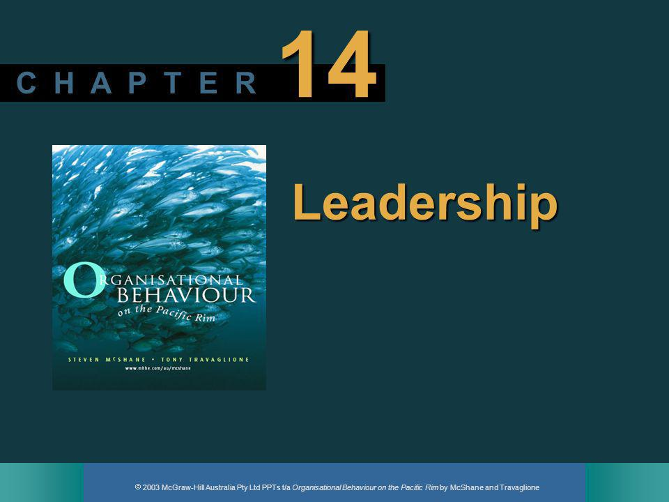 2003 McGraw-Hill Australia Pty Ltd PPTs t/a Organisational Behaviour on the Pacific Rim by McShane and Travaglione 12 Leadership substitutes Conditions that limit a leaders influence or make a particular leadership style unnecessary.