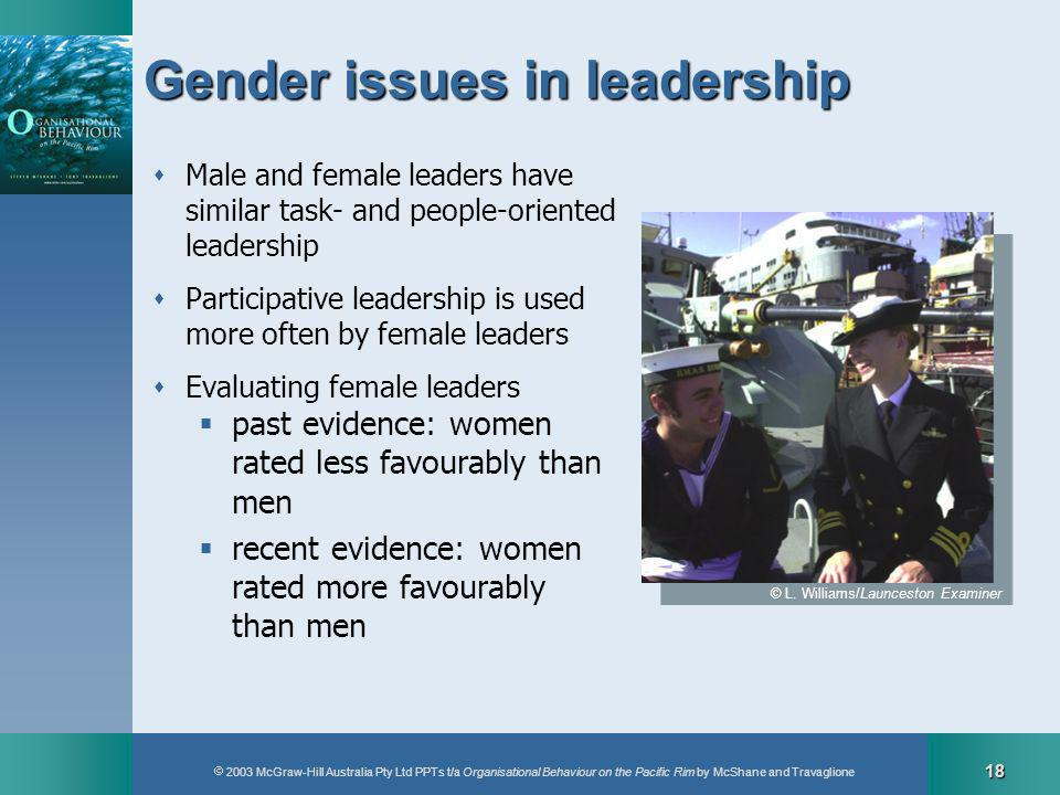 2003 McGraw-Hill Australia Pty Ltd PPTs t/a Organisational Behaviour on the Pacific Rim by McShane and Travaglione 18 Gender issues in leadership Male and female leaders have similar task- and people-oriented leadership Participative leadership is used more often by female leaders Evaluating female leaders past evidence: women rated less favourably than men recent evidence: women rated more favourably than men © L.