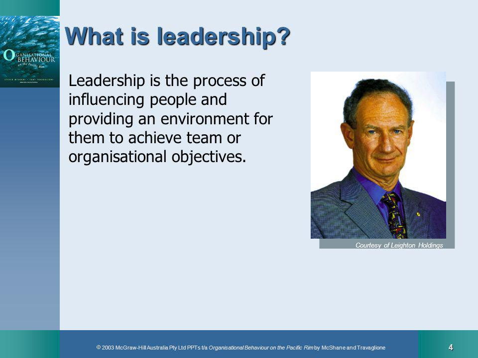 2003 McGraw-Hill Australia Pty Ltd PPTs t/a Organisational Behaviour on the Pacific Rim by McShane and Travaglione 15 Transformationalleadership Creating a vision Communicating the vision Buildingcommitment Modelling Transformational leadership elements