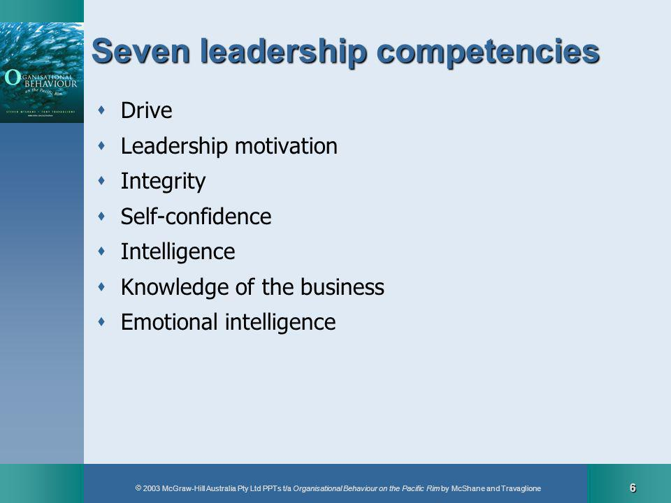 2003 McGraw-Hill Australia Pty Ltd PPTs t/a Organisational Behaviour on the Pacific Rim by McShane and Travaglione 6 Seven leadership competencies Drive Leadership motivation Integrity Self-confidence Intelligence Knowledge of the business Emotional intelligence
